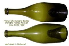 19th century French champagne bottles showing the depth of the 'punt'