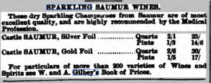 Gilbey's ad for Sparkling Saumur, Burnley Gazette, 1876